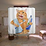"Colorful Star Fat cat brushing teeth Design Shower Curtain ,Waterproof&Antibacterial&Eco-Friendly made of 100% Polyester Fabric ,Non Toxic, Odor Free, Rust Proof Grommets 60""x72"""