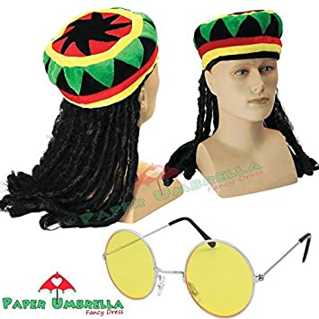 Jamaican Rasta Hat with Dreadlocks Wig   Yellow Glasses Caribbean Fancy  Dress 3ced4c920