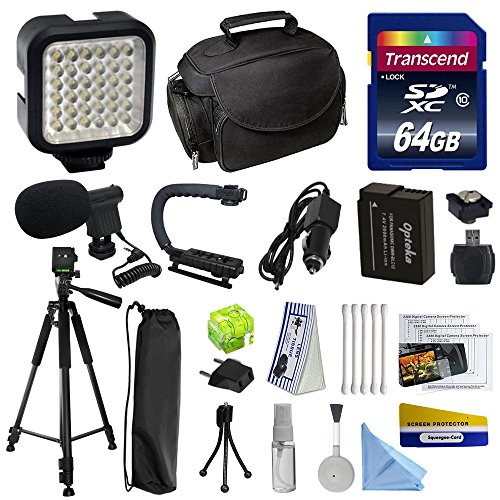 Advanced Accessory Kit for Panasonic Lumix DMC-FZ200 Digital Camera Includes 64GB High Speed Memory Card + Card Reader + Opteka DMW-BLC12 2000mAh Ultra High Capacity Li-Ion Battery + Battery Charger + Deluxe Padded Carrying Case + Professional Photo / Video 60