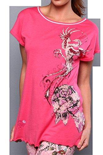 Ed Hardy Oversize Pj T-shirt with Rose/bird Graphic (Pink, Large)