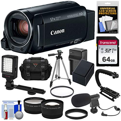- Canon Vixia HF R82 32GB Wi-Fi 1080p HD Video Camera Camcorder + 64GB Card + Battery & Charger + Case + Tripod + Stabilizer + LED + Mic + 2 Lens Kit
