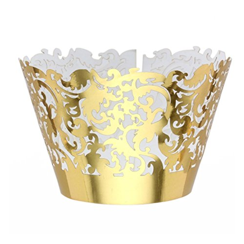 Pixnor 50pcs Cupcake Wrappers Wraps Cases Wedding Birthday Decorations Golden