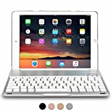 iPad Air 1, iPad 9.7 2017 Keyboard case, COOPER NOTEKEE F8S Backlit LED Bluetooth Wireless Rechargeable Keyboard Portable Laptop Macbook Clamshell Clamcase Cover with 7 Backlight Colors (Silver)