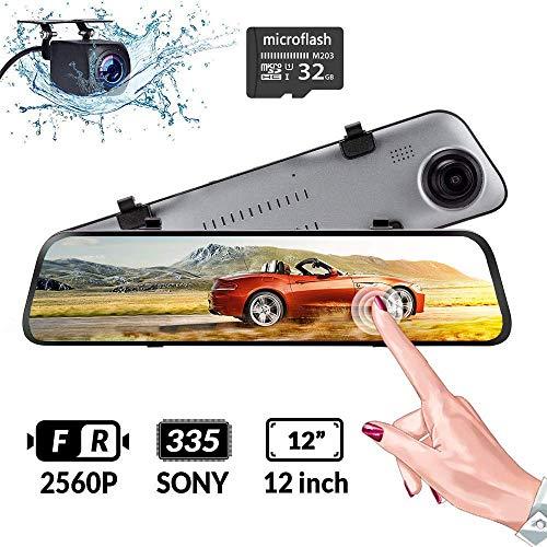i-Feeling F360 HD DVR Dual Dash Cam, Rear View Mirror, 1080p, SD Card Included (Black)