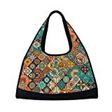 Sport Gym Bag Vintage Marble Mexican Ceramic Tile Medallion Canvas Travel Duffel Bag