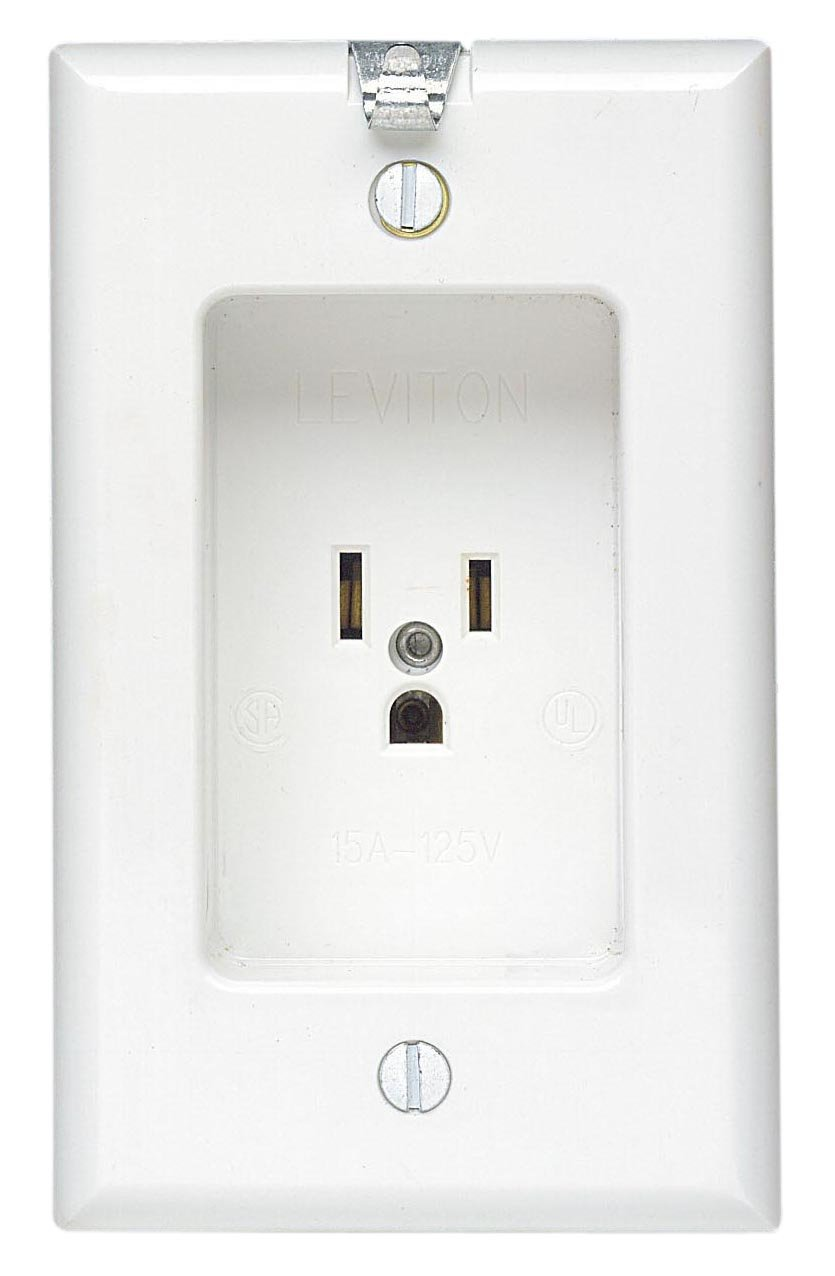 Leviton 688-W 15 Amp, 125 Volt, 1 Gang Recessed Single Receptacle ...