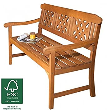 3 Seater Wooden Garden Bench, Quality All Weather Eucalyptus Hardwood With  Brass Plated Fittings