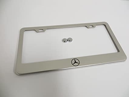Amazon.com: Mercedes-Benz Logo Stainless Steel Chrome License Plate ...