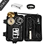 Emergency Survival Kits, OUTAD 13 IN 1 Outdoor Survival Gear Kit with Survival Bracelet, Emergency Blanket, Wire Saw for Hiking/Camping/Wilderness Adventures/Disaster Preparedness