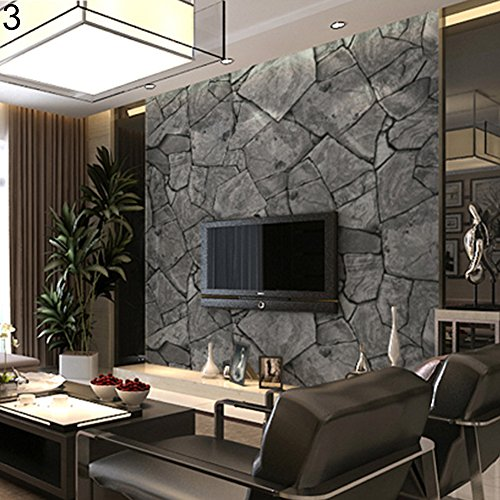 (Finance Plan Clearance Sale 3D Retro Rustic Stone Rock Pattern Waterproof Wallpaper Home TV Background Decor)