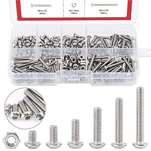 Hilitchi 250-Piece [M3] Stainless Steel Hex Socket Button Head Cap Bolts Screws Nuts Assortment Kit (M3)