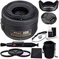 Nikon AF-S DX NIKKOR 35mm f/1.8G Lens + 52mm 3 Piece Filter Set (UV, CPL, FL) + LENS CAP 52MM + 52mm Lens Hood + Cloth + Pouch Bundle