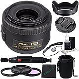 Nikon AF-S DX NIKKOR 35mm f/1.8G Lens + 52mm 3 Piece Filter Set (UV, CPL, FL) + LENS CAP 52MM + 52mm Lens Hood + Cloth + Pouch Bundle