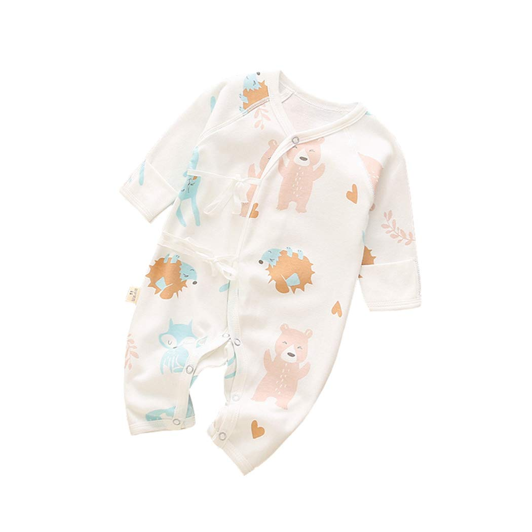 AIKSSOO Infant Baby Boy Girl Outfit Long Sleeve Romper Fruit Print Kimono Jumpsuit