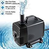 high pressure aquarium pump - Ankway Upgraded 800GPH(3000L/H, 55W) Submersible Water Pump Humanized Rotation Switch with 3 Nozzles for Pond, Aquarium, Fish Tank Fountain Water Pump Hydroponics, with 5.9ft (1.8M) Power Cord