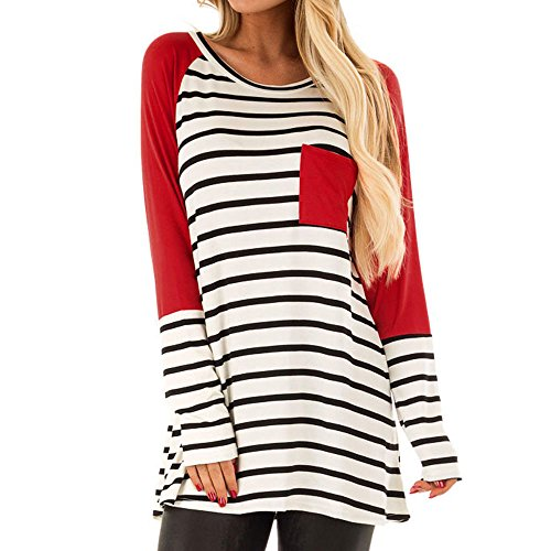 Londony ♥‿♥ Clearance Sales 815 Tops for Women Stripe Printed Color Block Pocket Sweatshirt Long Sleeve Casual T-Shirt from Londony❤ღ♕