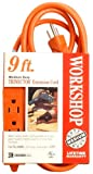 Coleman Cable 04006 16/3 9-Foot Outdoor Trinector Extension Cord, Orange