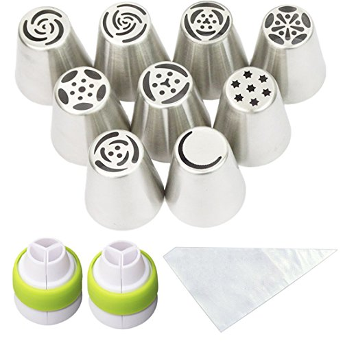 Cofe-BY Russian Piping Tips Cake Decorating Kits 21-Pcs Set for Home Baking DIY Tool Rose Tulip Icing Piping Nozzles Tip (9 Russian Tips 10 Disposable Pastry Bags 2 Tri-Color Coupler) Christmas Gifts ()