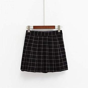 WDBXN Falda para Mujer Kawaii de Cintura Alta a Cuadros Falda ...