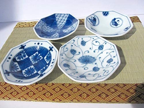 3.74 x 0.8,Assorted Designs 4 Japanese Ceramic blue and white octagonal small dish set,condiment or sushi sauce appetizer dessert