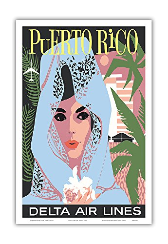 Puerto Rico - Delta Air Lines - Woman in Blue Lace Mantilla - Vintage Airline Travel Poster c.1960s - Master Art Print - 12in x 18in