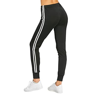 9bd94d1ad73 Sunenjoy Pantalon Femme Legging Sport Yoga Gym Fitness Running Jogging  Amincissant Taille Haute Rayures Coton Casual