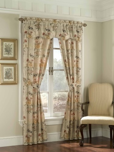 American Curtain and Home Taurus 5-Piece Window Treatment Set, 52-Inch by 84-Inch, Beige