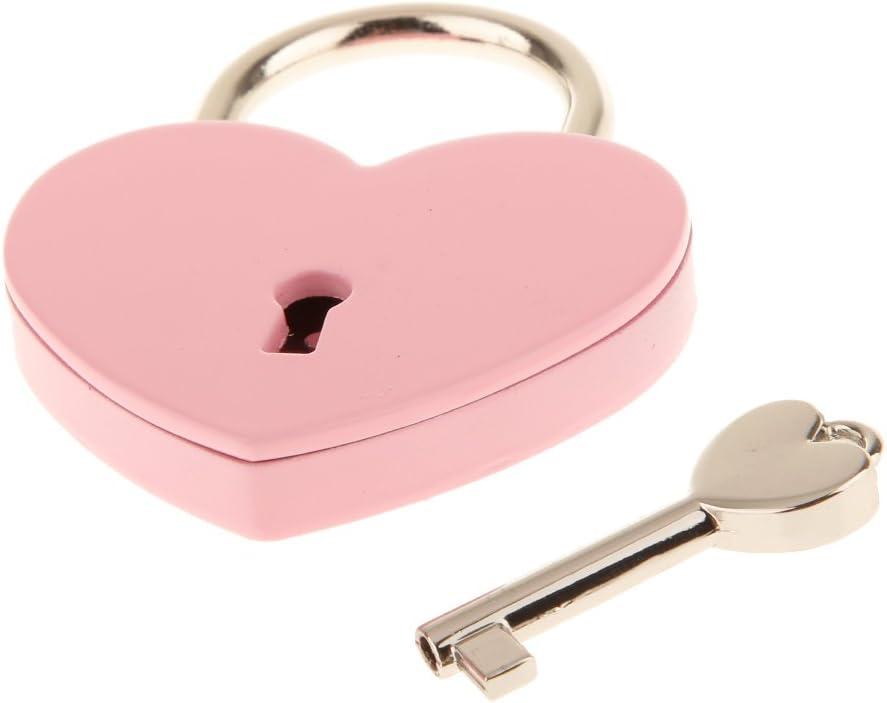 Red L Vintage Heart Shape Padlock with Key Travel Locker Set