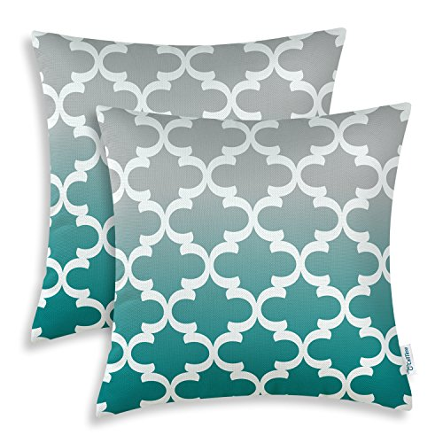 CaliTime Pack of 2 Canvas Throw Pillow Covers Cases for Couch Sofa Home Decor Modern Gradient Quatrefoil Accent Geometric 20 X 20 Inches Gray to Teal