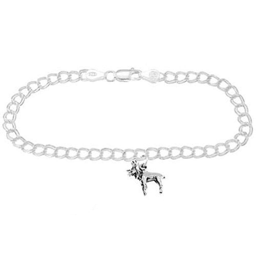 Sterling Silver Small Moose on 4 Millimeter Charm Bracelet