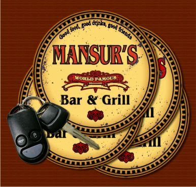 MANSUR'S World Famous Bar & Grill Coasters Set of 4
