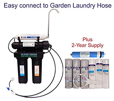 Black Series Expandable 4 Stage Home Drinking Reverse Osmosis System. Garden Laundry Hose connection. 75 GPD Membrane. Comes with 2 Year supply filter set