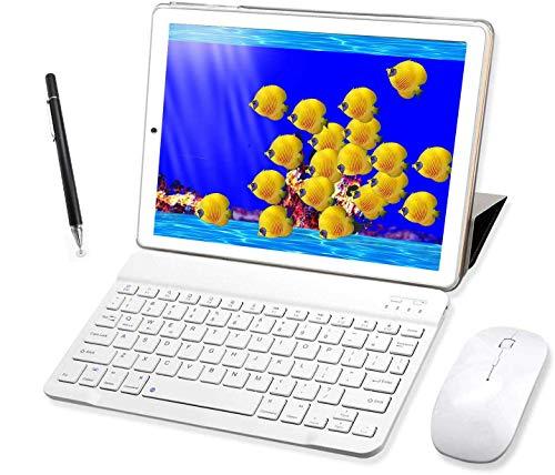 🥇 Tablet 10 Pulgadas Buenas 4GB RAM 64GB ROM Android 9.0 Pie Tablet PC 2 en 1 con Teclado y Mouse Quad-Core Dual SIM Buenas Tabletas de función de Llamada 4G 8000mAh