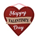 Happy Valentine's Day Wall Plaques Home Decor Decoration Red and Black Wooden-Heart Wall Decorations, 10.5 in.