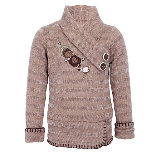 Cutecumber Girls Sweater Knit Embroidered Brown Sweater Top.CC1819A-BROWN:  Amazon.in: Clothing & Accessories