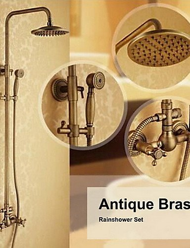 Ling@ Shower Tap Antique Brass Wall Mounted Two Handle Rain Shower Faucet Set with 8 Inch Shower Head and Hand Shower price