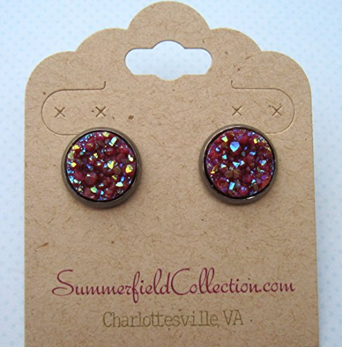 Hematite-tone Maroon Faux Druzy Stone Stud Earrings 12mm (Earrings Stud Hematite)