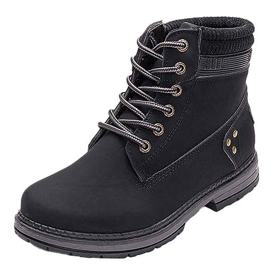 OHQ Botas con Cordones SóLidas para Mujer Botines Casuales Zapatos con Punta Redonda Botas De Nieve para Estudiantes: Amazon.es: Zapatos y complementos