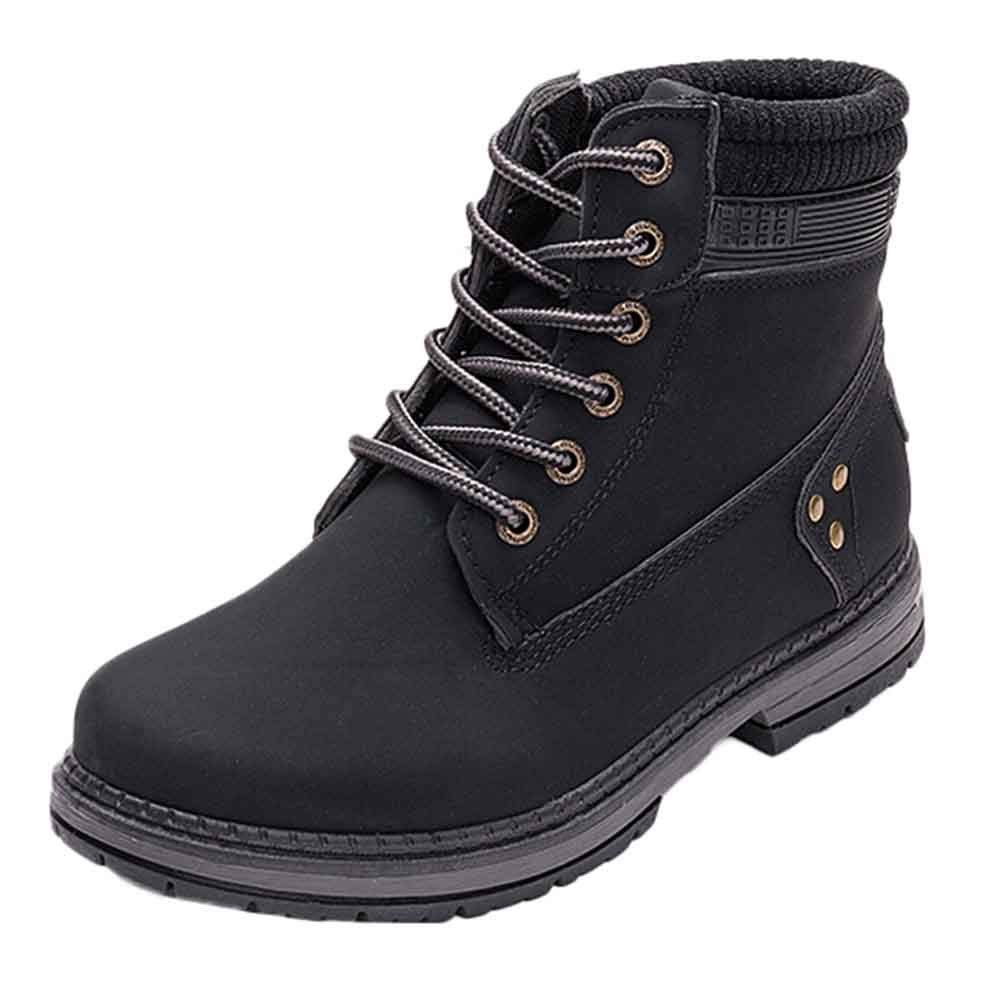 ❤️ Martin Boots Mujer de Felpa, Mujer Solid Lace Up Boots Botines Casuales Zapatos de Punta Redonda Botas de Nieve de Estudiante Absolute