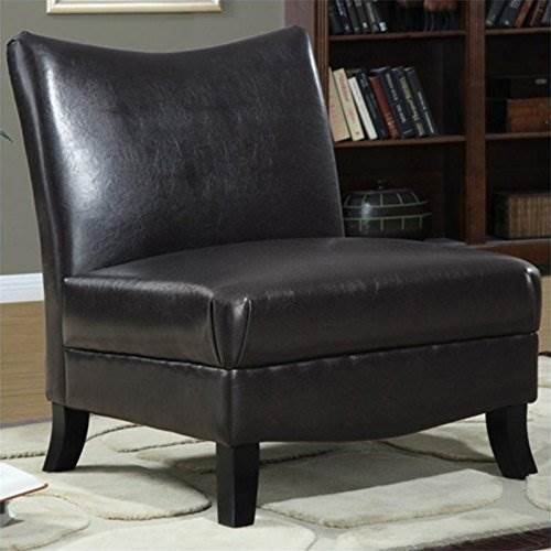 Monarch Specialties Leather-Look Accent Chair, Dark Cappuccino For Sale