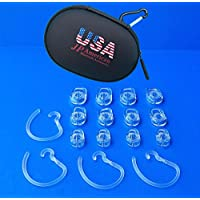 JP-American BT Accessories: 4 Earhooks, 4-Small/4-Med/4-Large Ear Gels / Earbuds for MOTOROLA Whisper HZ-850 HZ850 WITH our Deluxe USA BLuetooth Protective Case