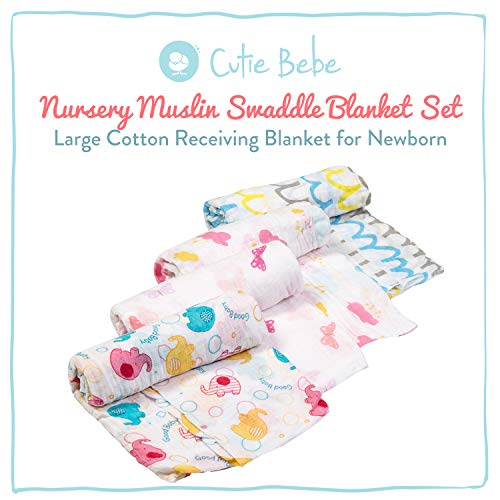 Cutie Bebe Nursery Muslin Swaddle Blanket Set- Large Cotton Receiving Blanket for Newborn, Baby Girl or Boy Unisex, 47 x 47 (4 Pack, Elephant & Cloud)