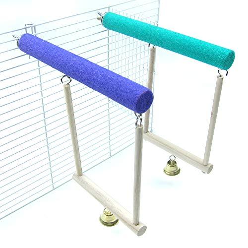 (Alfie Pet - Verdi 2-Piece Set Sand Covered Perch Swing Toy for Birds - Size: Large)
