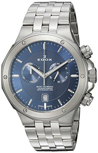 Edox Men's 'Delfin' Quartz Stainless Steel Dress Watch, Color:Silver-Toned (Model: 10110 3M BUIN)