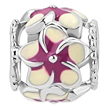 Charmed Craft Colorful Flower Charm Enamel Hollow Beads For Bracelets