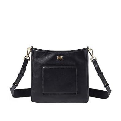 d1d60fbe69 Amazon.com  Michael Kors Gloria Leather Messenger BLACK  Shoes