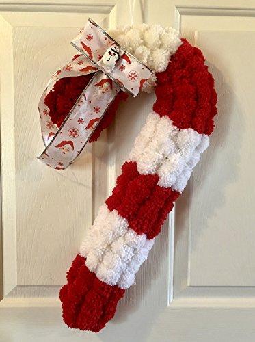 Yarn Wreath (Fluffy Yarn Pom Pom Candy Cane Christmas Wreath - Peppermint Wreath - Holiday Gift)