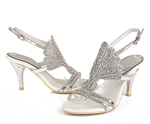 Prom Abend Heel Mid Sandaletten Party Damen Diamante Braut Hochzeit w7HWzFq