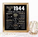 Katie Doodle 75th Birthday Decorations Party Supplies Decor Gifts for Men Women | Includes 8x10 Back-in-1944 Sign [Unframed], BD075, Black & Gold
