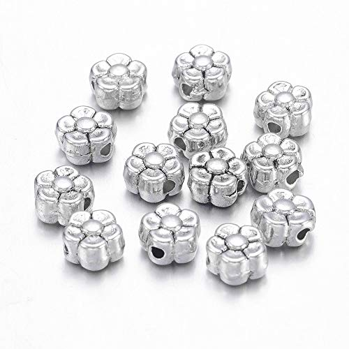 Pandahall 100pcs Tibetan Silver Antique Silver Flower Plum Blossom Beads Spacers Charms for Jewelry Makings Lead Free & Nickel Free & Cadmium Free 5x5x3mm ()